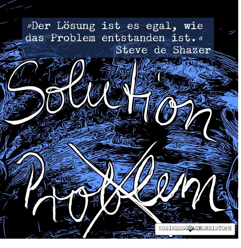 Problem durchgestrichen, darüber das Wort Lösung