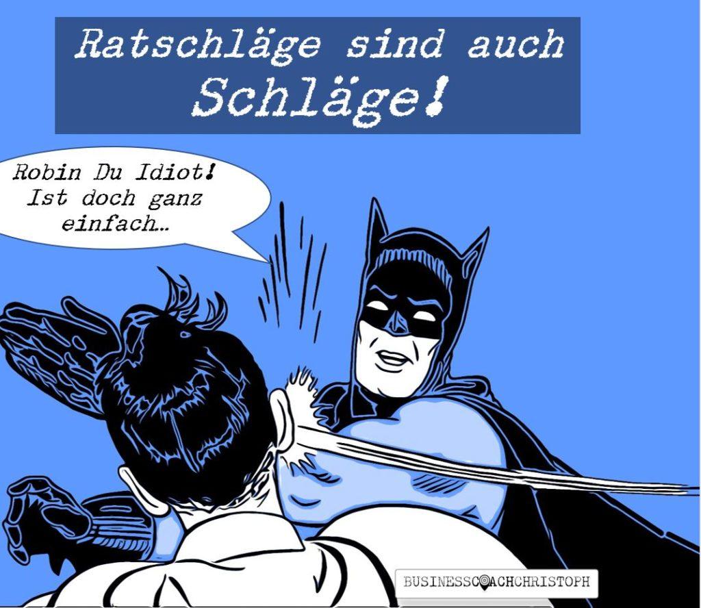 Batman schlägt Robin und beschimpft ihn als Idioten