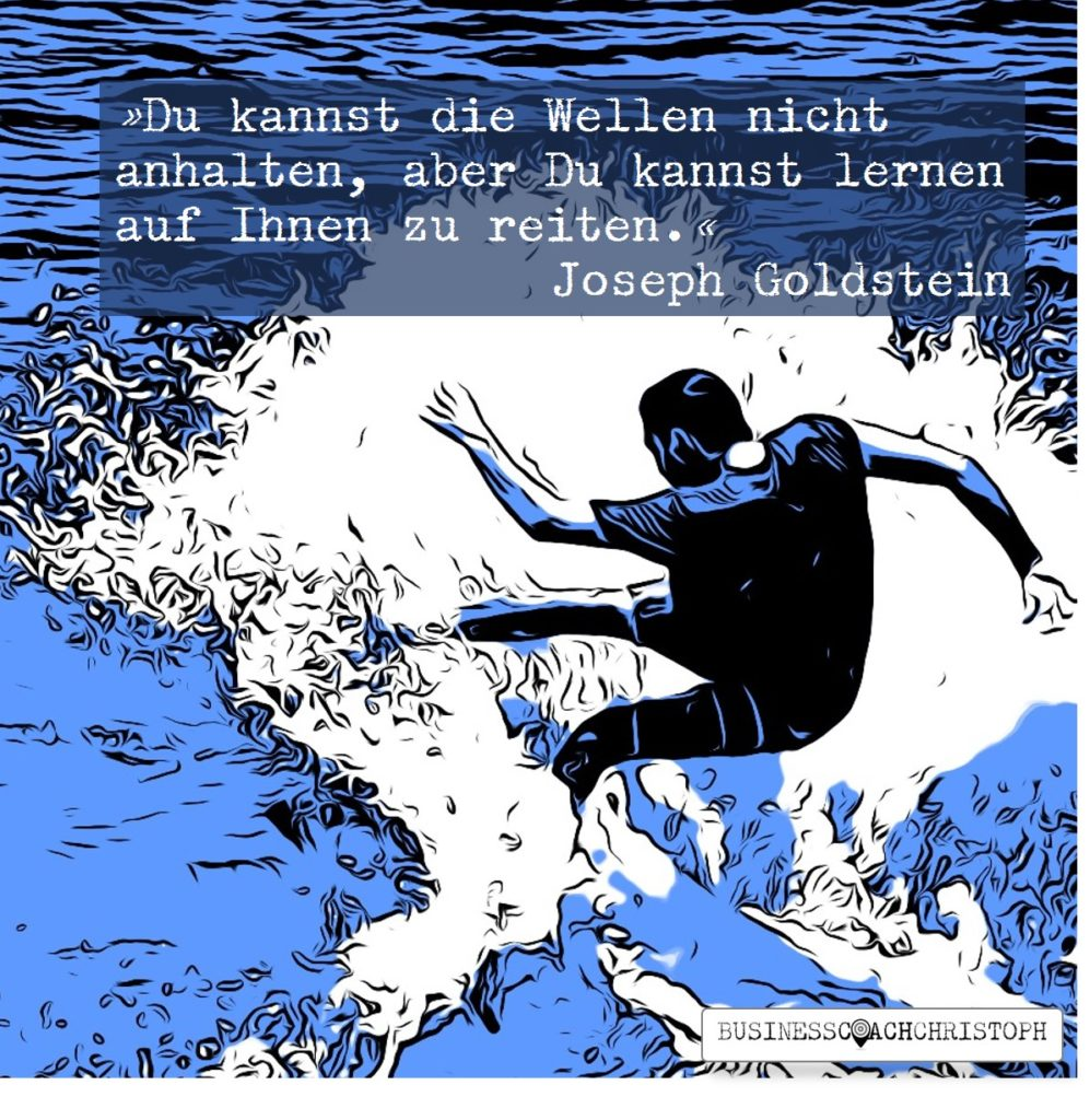 Surfer reitet auf Welle