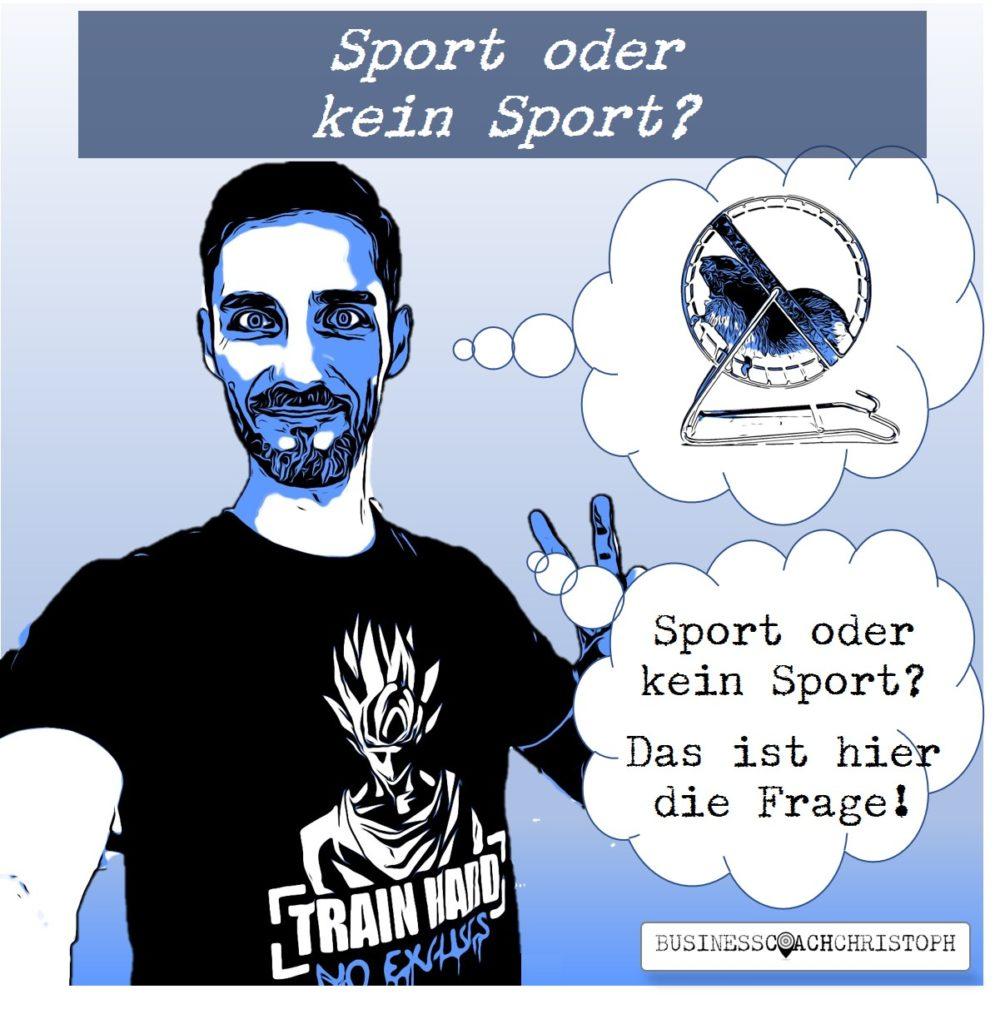 Business Coach Christoph denkt an Hamsterrad und fragt sich ob er Sport machen soll